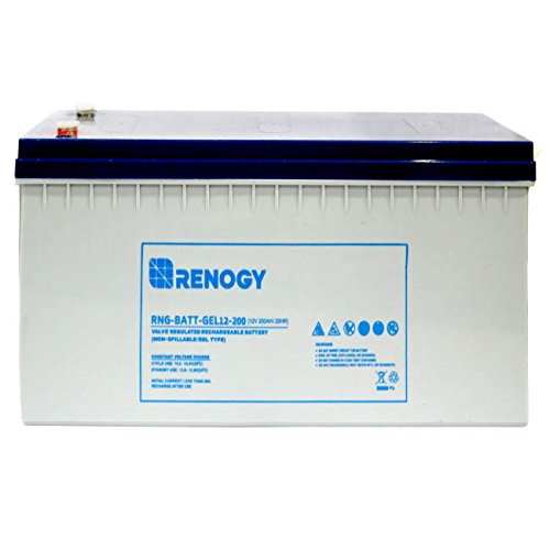 Renogy 12V 200Ah Rechargeable Deep Cycle Pure Gel Battery Maintenance Free for RV, Golf Cart, Solar, Marine, and Off-Grid Applications