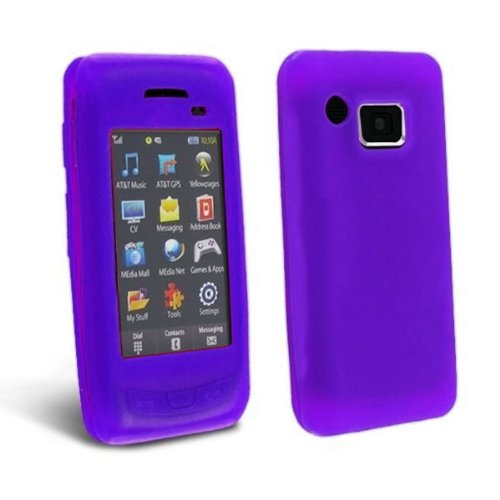 (Importer520 Purple Soft Silicone Gel Skin Cover Case for Samsung Impression A877 + Screen Protector)