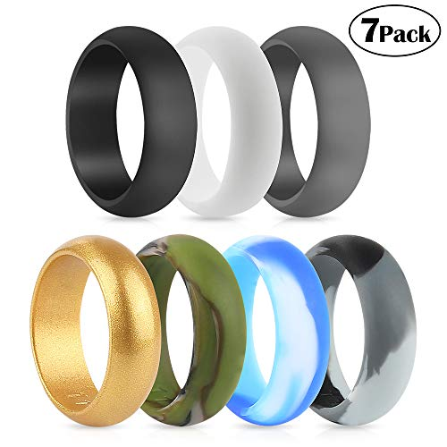 POPSPARK Silicone Wedding Rings for Men, Durable 7 Packs Silicone Ring Non-toxic Comfortable Silicone Wedding Bands for Yoga, Crossfit, Weight Lifting, Fitness
