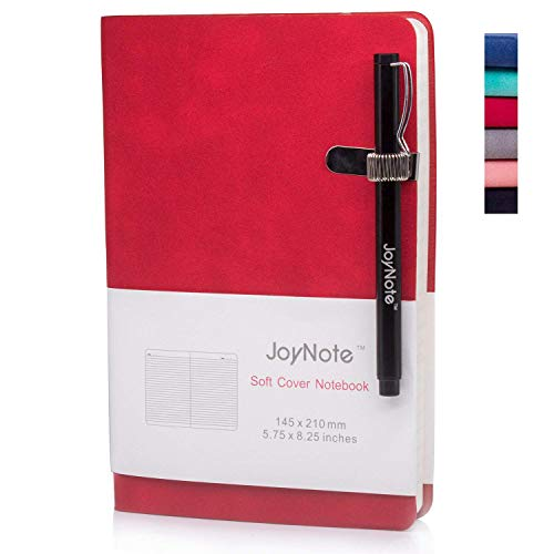 JoyNote Journal Notebooks, A5 Ruled Hardcover Journal with Pen Holder, Thick Paper Soft Cover Notebook, Red, 96 Sheets/192 Pages, 5.75 x 8.25 inches