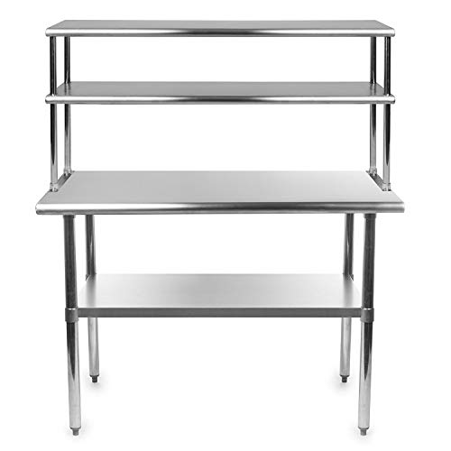 Stainless Steel Work Prep Table 18 x 30 with Adjustable Double Overshelf 12 x 30