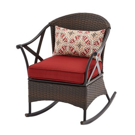 Mainstays Outdoor Porch Rocking Chair, (Red Cushion)