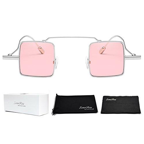 SamuRita Geometry Cute Small Square Sunglasses Women Fashion Designer Glasses(Pink Tinted Lens/Silver Frame)