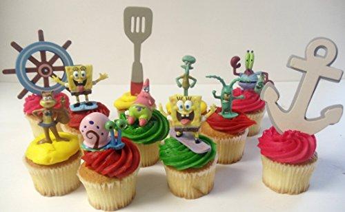 Spongebob SquarePants 11 Piece Birthday Cupcake Topper Set Featuring 2