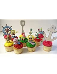 Spongebob SquarePants 11 Piece Birthday Cupcake Topper Set Featuring 2 to 3 Cupcake Toppers of Squidward, Sandy Cheeks, Patrick Star, Mr. Krabs, Plankton, Gary and Other Decorative Themed Accessories
