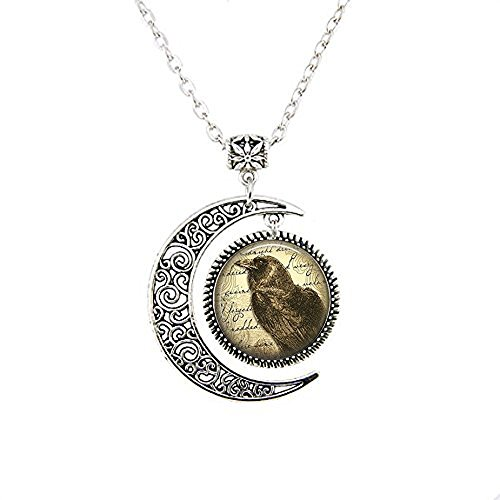 (yijun Raven Necklace - Raven Jewelry - Edgar Allan Poe Necklace - Book Necklace - Fairy Tales - Poe Jewelry - Bird Necklace)