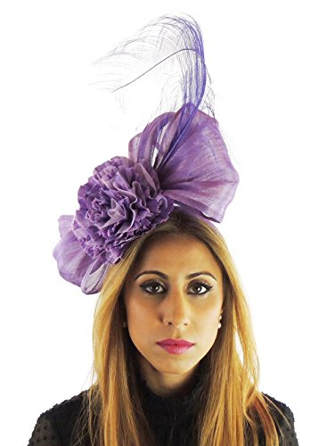 Hats By Cressida Silk Sinamay & Silk Flower Elegant Ladies Ascot Wedding Fascinator Hat Lilac Purple by Hats By Cressida