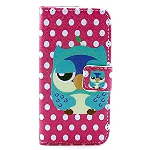TOPQQ Owl with splashy Design Full Body PU Leather Case with Stand and Card Slot and Money Holder for iPhone 5C