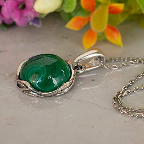 - 925 Sterling Silver Malachite Necklace - Dainty 12mm Natural Stone, Genuine Dark Green Malachite Gemstone Pendant, Delicate Handmade Vintage Antique Everyday Jewel for Classy Women