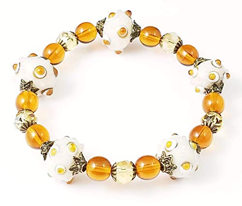 - Handmade Beaded Stretch Bracelet, Amber, Brown and Cream Polka Dots, Lampwork Glass Beads
