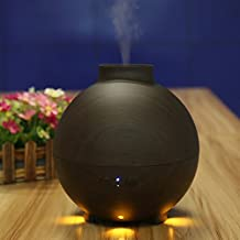 Ultrasonic Essential Oil Diffuser For Aromatherapy, Meago 600 ml Faux Wood Grain Aroma Disffuser Air Humidifier Mist Mode Adjustment and Water-less Auto Shut-off for Home Office ,Golden (Black)