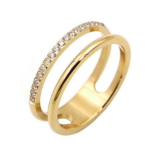 IFUAQZ Women's Stainless Steel Cubic Zirconia Ring Knuckle Midi Stacking Double Lines Eternity Bands Gold Size 7 ()