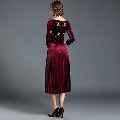 Elegante Lunghi YiLianDa Vestiti Donna Cocktail Velluto Manica Invernali Abiti Vestito Abito Lunga Rosso Cerimonia Autunno Partito wSYBwq