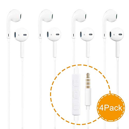 (Dr.Luck Headphones,4 Pack Stereo Earphones,Earbuds with Mic and Remote Control for Apple iPhone iPad iPod Galaxy and More Android Smartphones Compatible with 3.5 mm Headphone )
