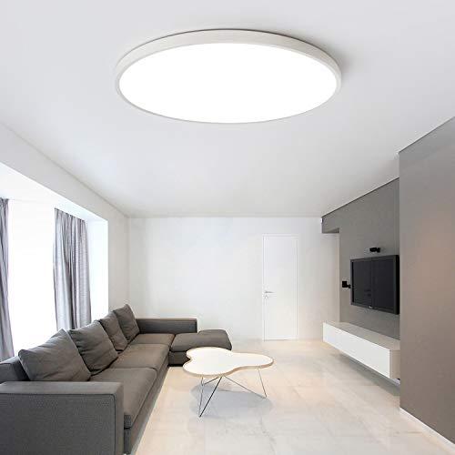 Ceiling Lights LED Daylight White Ultra Slim 5CM Equivalent 200W Incandescent Bulbs,KTZON Matte White 6000K Flush Mount fixtures Eco-Friendly Lamps for Living Room Kitchen