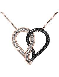 Black & White Genuine Diamond Accent Infinity Heart Pendant 14k Gold Over Sterling Silver
