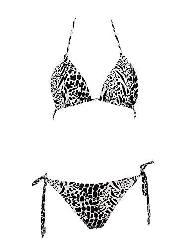 Jonathan Swim Brazilian Bikini Push Up Padded Top Strappy Bottom Triangle Swimsuit(Black and White Leopard Print,xs)