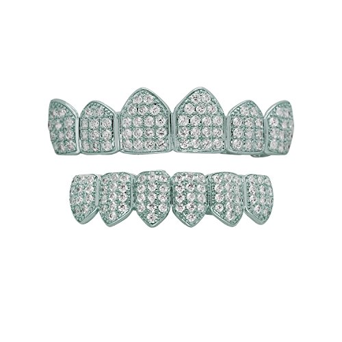 Diamond Gold Tone Grillz - Hip Hop Bling Iced Out Yellow or White Gold-Tone Lab Cubic Zirconia Kevin Gates Top and Bottom Custom Grillz Grill with Mold Bar (White-Gold-tone)