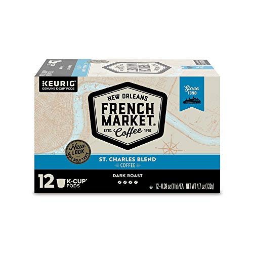 French Market Coffee, St. Charles Blend, Single Serve Coffee K-Cup Pods, Dark Roast, 12 Count