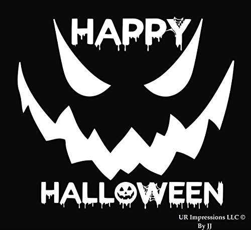 (UR Impressions Happy 6.5in. Halloween Spooky Face Decal Vinyl Sticker Graphics Car Truck SUV Van Wall Window Laptop Tablet|White|6.5 X 5.5)