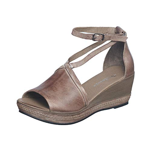 Antelope Women's 460 Grey Leather Ankle Wrap Low Wedge Sandals 39