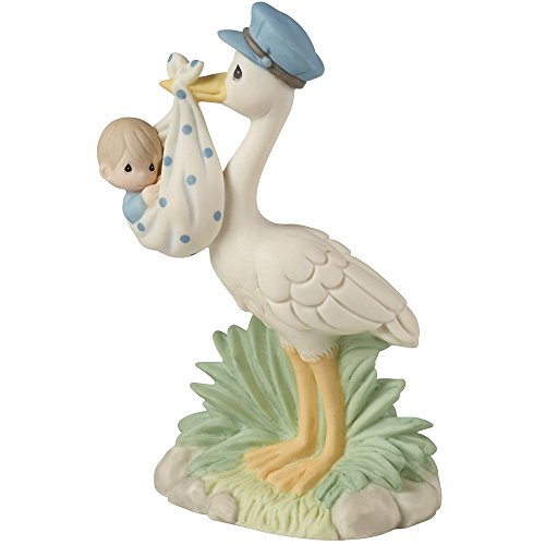 - Precious Moments, Love Is On Its Way Stork Bisque Porcelain  Figurine, Boy, 153022