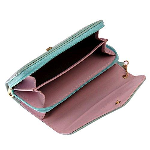 A 3tasche con chiusura a pressione e chiusura lampo–Wallet Zipper, Cover Portafoglio Portamonete Portafoglio da donna turchese pink–adatto per Smartphone, denaro, carte di credito, Make Up turche