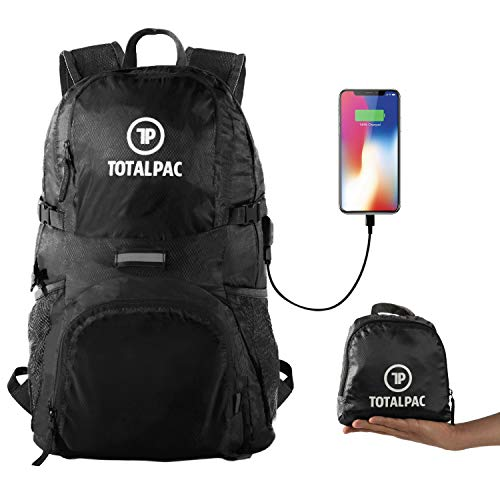 Totalpac Lightweight Hiking and Travel Backpack for Men & Women – Ultralight Packable Outdoor Back Pack for Any Hike – Small Foldable Daypack with USB Cable for Charging Gear While Trave (Black) For Sale