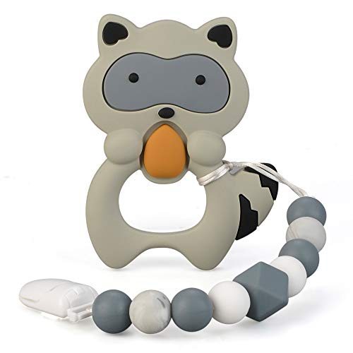 Baby Teething Toys Silicone Teether Egg Raccoon Chew Beaded Pendant Holder Newborn Boys Girls