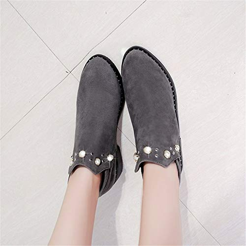 Autumn Low Grey Leisure Winter Wild Ma Boots Diamond Female Shoes Rivet Profile WHL Dingxue Frosted qZ0gTTn