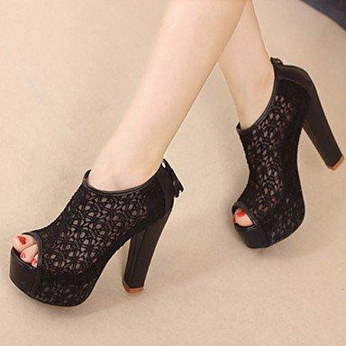 KYDJ @ botas de cordones de tacón grueso elegantes BOOTIE zapatos de fiesta por la noche / zapatos de las mujeres (más colores) , beige , us6.5-7 / eu37 / uk4.5-5 / cn37 beige