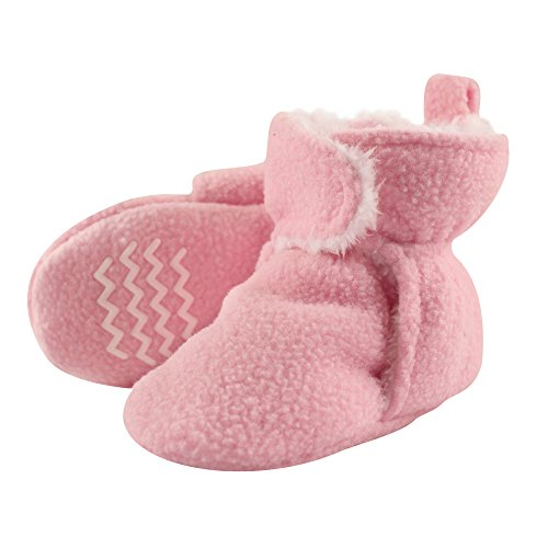 Hudson Baby Baby Cozy Sherpa Booties with Non Skid Bottom, Light Pink, 18-24 Months (Slipper Booties For Girls)