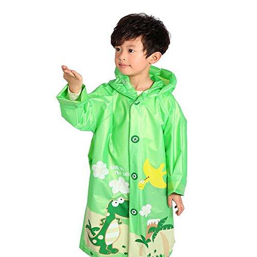 [Ezyoutdoor Unisex Kids Cute Green Dinosaur Children Hooded Raincoat Rain Jacket Poncho with School Bag Cover with Reflective Strip Children Raincoat Cartoon] (Super Mario Flower Power Costume)