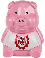 OOTB Kunststof dieetvarken voor de koelkast met lichtsensor en geluid, roze, 7,5 x 8,9 x 11 cm
