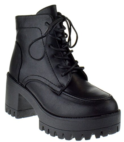 Foever Imani 13 Womens Lace Up Platform Boots Black 7.5