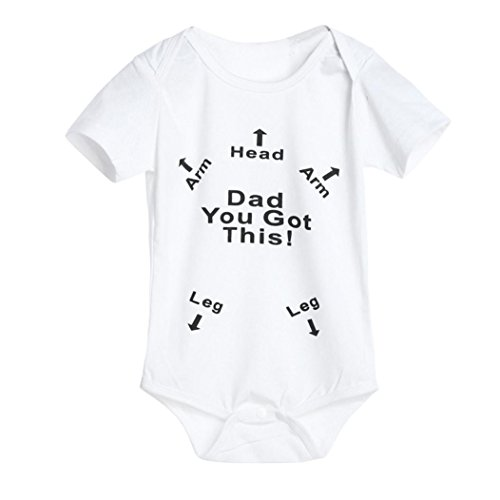 GBSELL Baby Boys Girls Newborn Infant Letter Print Romper Clothes Outfits (White, 0-6 Month)
