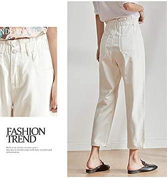 QMGLBG S Größe/Damska Plus Size Damska elastische Taille Haremshose mit hoher Taille Zweireiher weiße Schwarze Jeans: Küche & Haushalt
