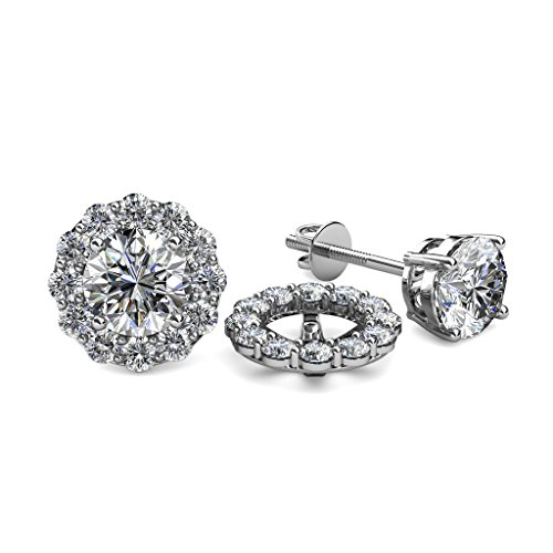 Diamond 0.72 Carat tw Women Halo Jackets for Stud Earrings in 14K White Gold