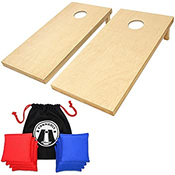 GoSports Regulation Size Wooden CornHole Set Includes 8 Premium Bags, Wood/Natural
