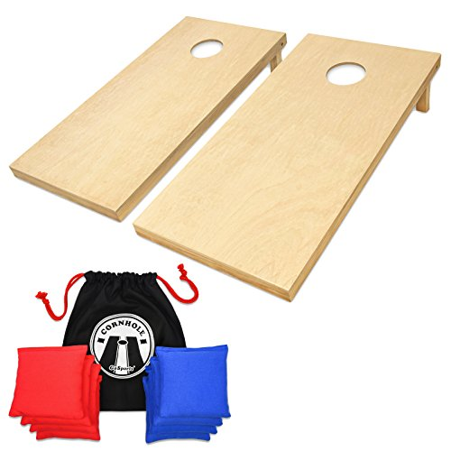 GoSports Regulation Size Wooden CornHole Set Includes 8 Premium Bags, - Logo Wood