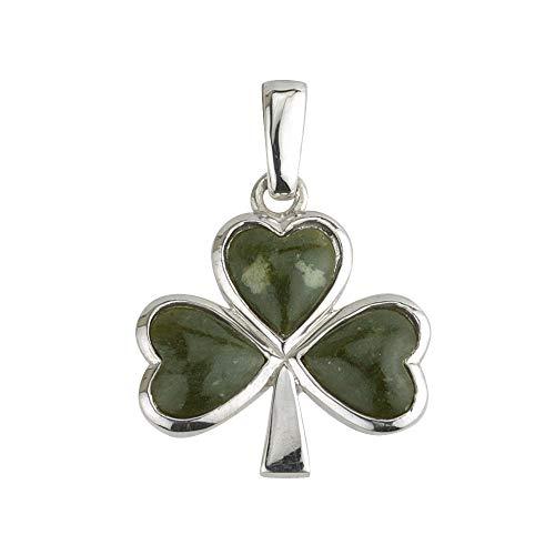 Shamrock Necklace Sterling Silver & Connemara Marble Made in Ireland