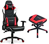 GTRACING Audio Gaming Chair with Bluetooth Speakers 【Patented】 GT899 Red Chair and Stool Set