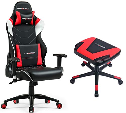 GTRACINGAudioGamingChairwithBluetoothSpeaker[Patented] GT899 Red Chair and Stool Set GTRACING
