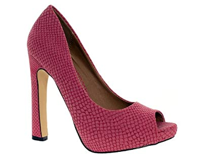 Odeon Womens Ladies Pink Snake Print High Heel Peep Toe Court Shoes Size 4 9ac14ee33b