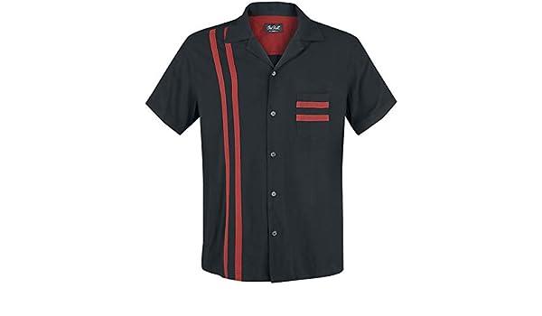Chet Rock Estilo Vintage Hombres Lucky Stripe Bowling Shirt Camisa De Bolos: Amazon.es: Ropa y accesorios