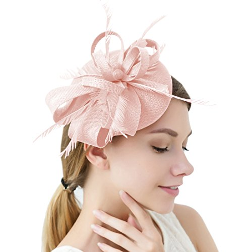 Sinamay Feather Fascinators Womens Pillbox Flower Derby Hat for Cocktail Ball Wedding Church Tea Party (Light Pink) ()