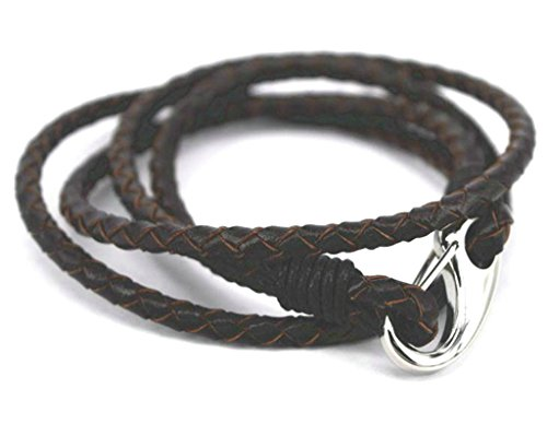 Epinki Mens 316L Stainless Steel Antiqued Leather with Stainless Steel lobster claw Clasp Brown Bracelet