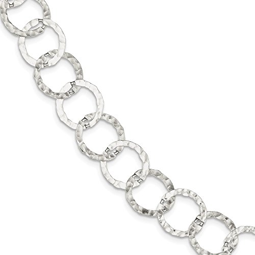 925 Sterling Silver Hammered Bracelet 7.5 Inch Chain Fancy Fine Jewelry Gifts For Women For Her