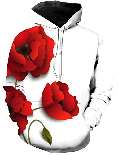 Adult Pullover Hoodie 3D Digital Printed Casual Tops with Pockets Unisex Flirting red Poppy Flower S (Red Flower That Looks Like A Poppy)