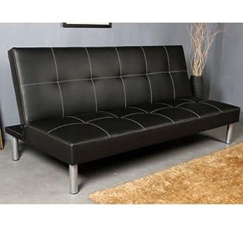 HOMCOM Sofa Cama Plegable 178x79x84cm Tapizado Piel Negro Cama de 178x105cm Patas Metal Cromado